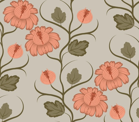 Flowers on a green background. Floral design, in vintage style. Seamless pattern. Vector