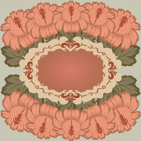 Flowers on a green background. Floral design. In vintage style. Basic elements are grouped. Vector