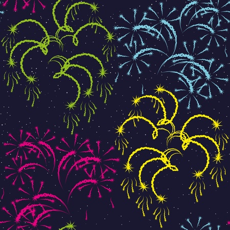 exciting: illustration. Seamless pattern - fireworks on a dark background.