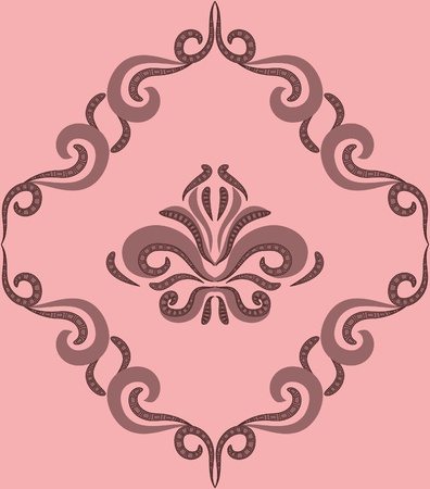 damascus: Seamless pattern - damascus pattern on a beige background Illustration