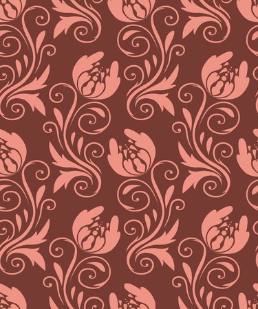 seamless pattern - beige flowers on a brown background