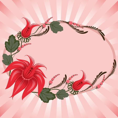 Red flowers on a beige background - in the style of hand-painted. Floral design. postcard. Basic elements are grouped.