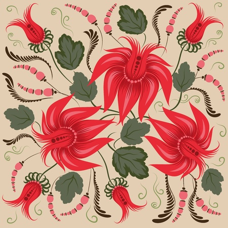Red flowers on a beige background - in the style of hand-painted. Floral design. Basic elements are grouped. Vector