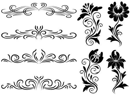 filigree: Horizontale elementen decoratie vector, vector floral grafisch ontwerpelementen. Fundamentele elementen zijn gegroepeerd.
