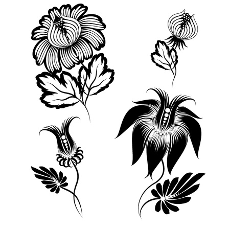 Set of floral graphic design elements. Basic elements are grouped. Vector