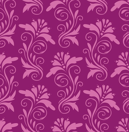 seamless pattern - pink flowers on a purple background Vector