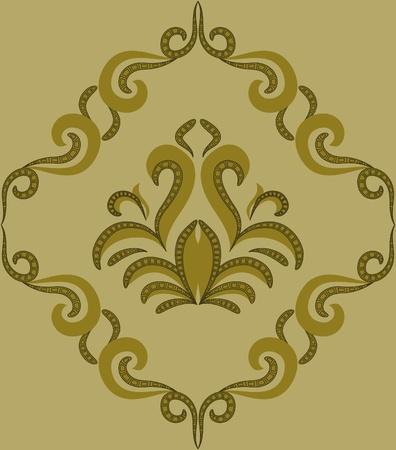 damascus: Seamless pattern - damascus pattern on a green background Illustration