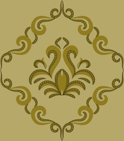 Seamless pattern - damascus pattern on a green background