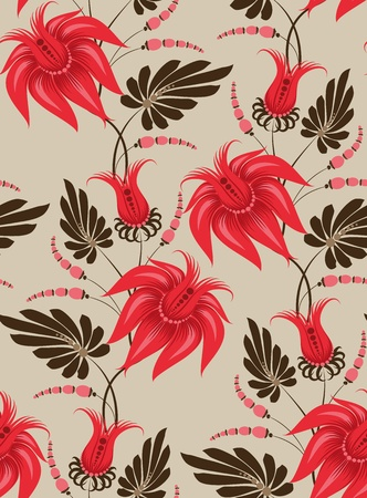 victorian textile: Flowers on a beige background. Floral design, in vintage style. Seamless pattern. Illustration
