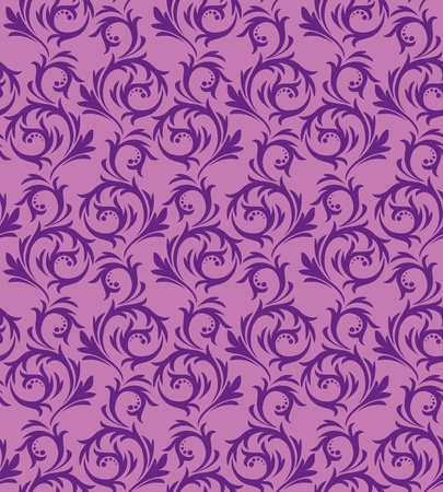 Seamless violet pattern on a lilac background.  In vintage style. Vector