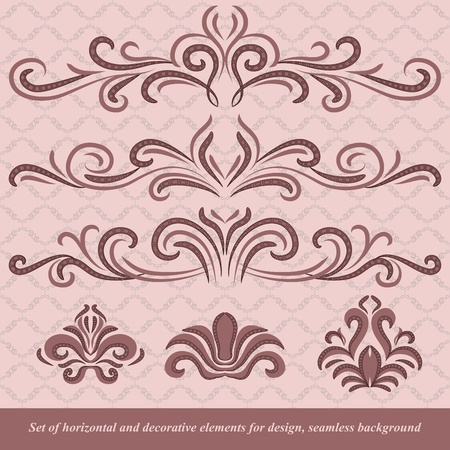 Set of horizontal and decorative vector elements for design. In vintage style. Basic elements are grouped. Vector