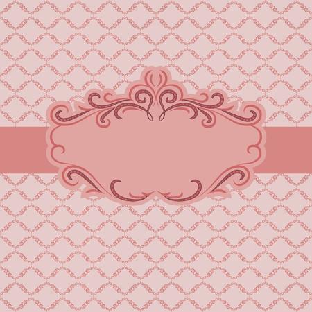 cartoline vittoriane: Design del modello telaio per biglietto di auguri. Sfondo - seamless pattern.
