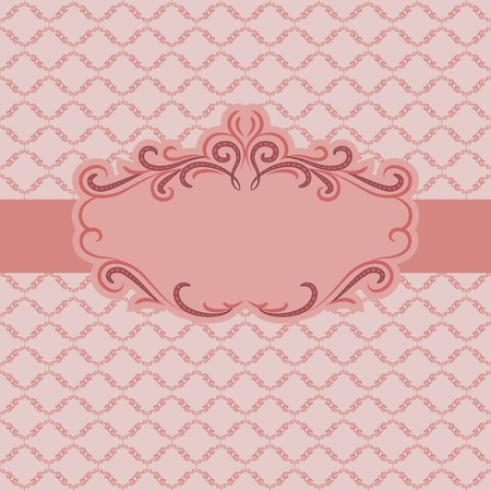 vignette: Template frame design for greeting card . Background - seamless pattern.