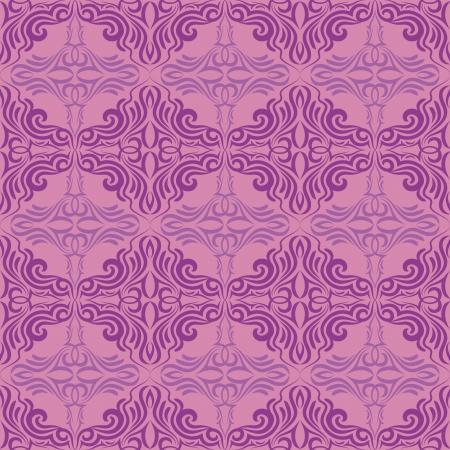 brocade: Seamless violet pattern on a pink background. Illustration