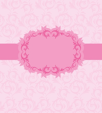 pink banner: Template frame design for greeting card . Background - seamless pattern.