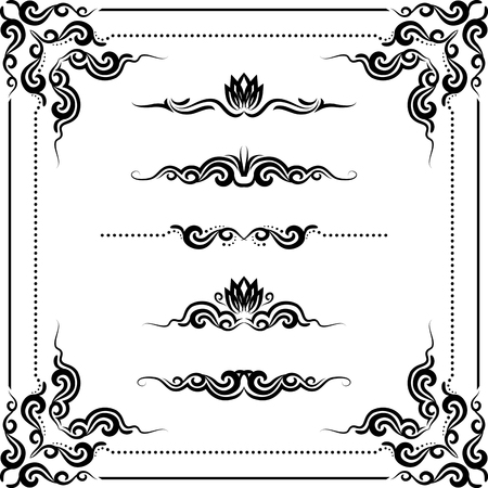 set of decorative horizontal elements, border and frame. Vector
