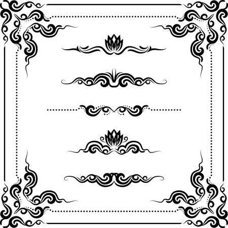 grens: set van decoratieve horizontale elementen, grens-en frame.