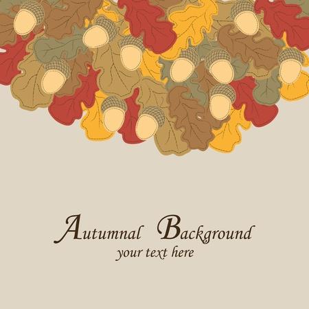 foglie di quercia: Autunno sfondo. Multi-color foglie di quercia e ghiande. Vettoriali
