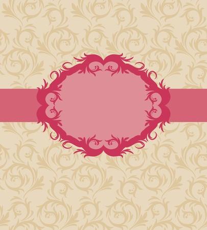 cartoline vittoriane: Template design del telaio per il biglietto di auguri. Background - seamless.