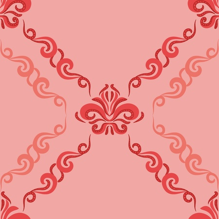 Seamless pattern - damascus pattern on a pink background Vector
