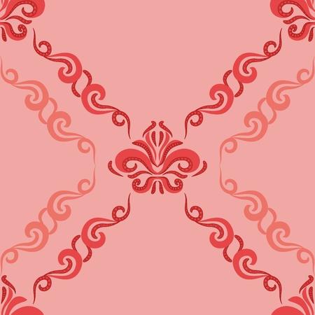 damascus: Seamless pattern - damascus pattern on a pink background