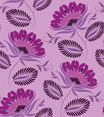 Flowers on a lilac background. Floral design, in vintage style. Seamless pattern. Vector