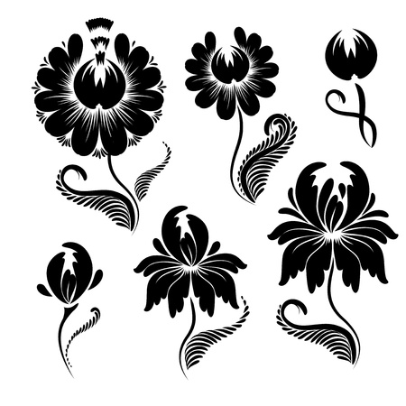 Set of floral graphic design elements. Basic elements are grouped. Stock Vector - 10607785