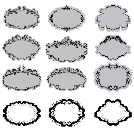 Set of ornate vector frames . In vintage style. Basic elements are grouped. Vector