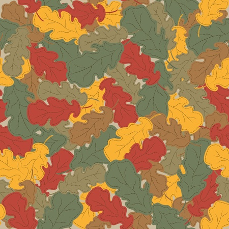 Abstract autumn background. Multi-colored oak leaves. Seamless pattern. Vector