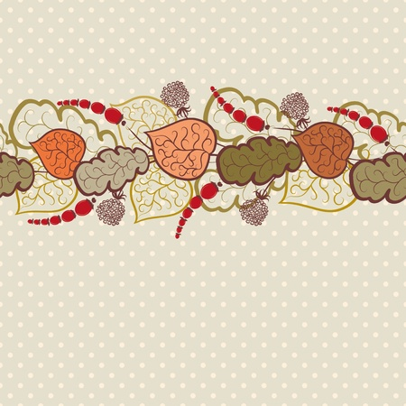 stylize: Autumn background with leaves and berries. Seamless pattern.