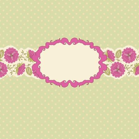 cartoline vittoriane: Modello di progettazione cornice per biglietto di auguri. Disegno floreale. In stile vintage. Vettoriali