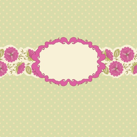 Template frame design for greeting card . Floral design. In vintage style. Stock Vector - 10607799