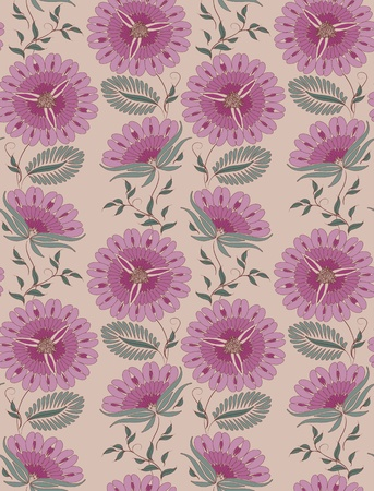Flowers on a beige background. Floral design, in vintage style. Seamless pattern. Vector