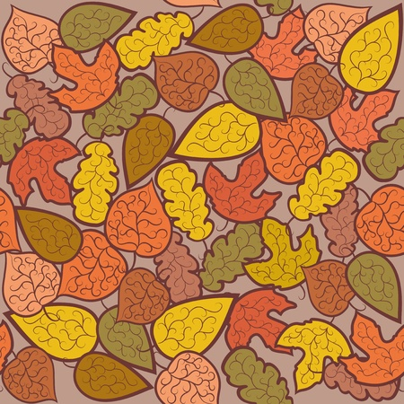autumnal: Abstract autumn background. Leaves on a brown background. Seamless pattern. Illustration