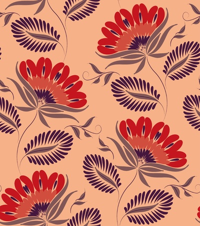 Flowers on a peach background. Floral design, in vintage style. Seamless pattern. Vector