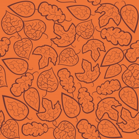 stylize: Abstract autumn background. Leaves and flowers on a orange  background. Seamless pattern.