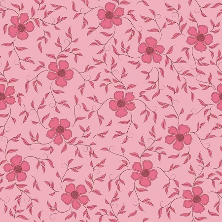 Flowers on a rose background. Floral design, in vintage style. Seamless pattern. Vector