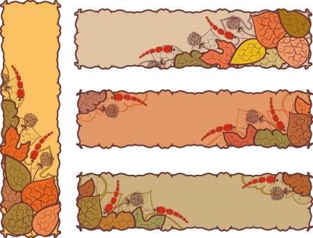 Set of four autumn banners.  Leaves and berries. Basic elements are grouped. Vector