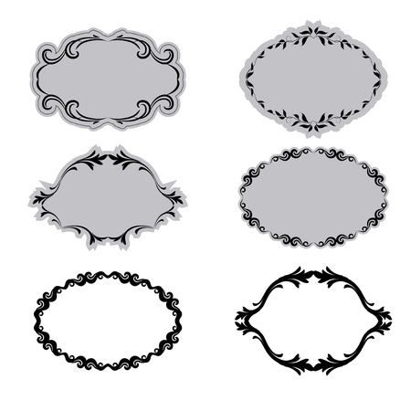 Set of ornate frames . In vintage style. Basic elements are grouped. Vector