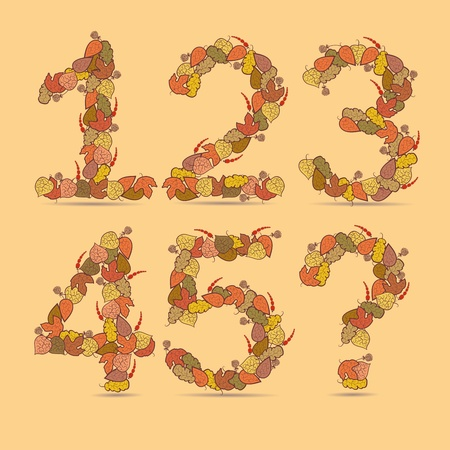 12345? Vector colorful font. Autumn theme, leaves and berries. Vector