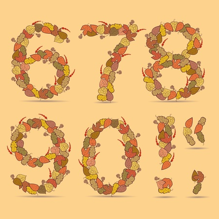 67890! Vector colorful font. Autumn theme, leaves and berries. Vector