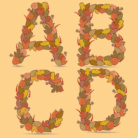 A,B,C,D Vector colorful font. Autumn theme, leaves and berries. Vector