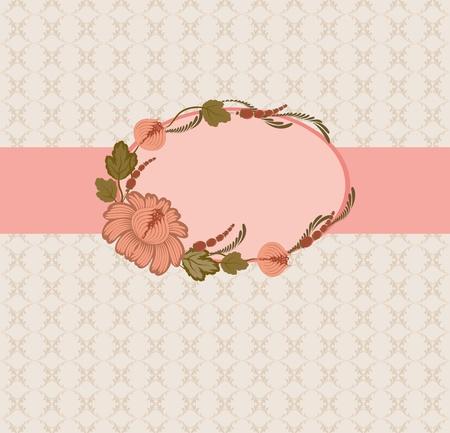 Template frame design for greeting card . Floral design. Background - seamless pattern. Vector
