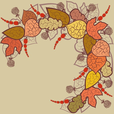 stylize: Autumn abstract background with leaves and berries.