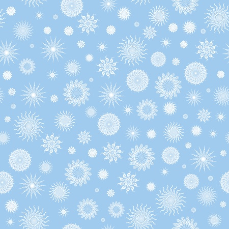 White snowflakes on a blue background. Vector