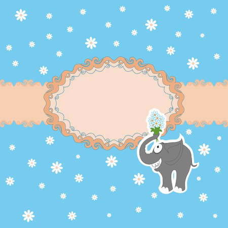 Template frame design for greeting card . Funny elephant with a bouquet of daisies Vector