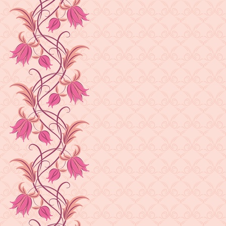 Flowers on a background. Floral design, in vintage style. Seamless pattern. Vector