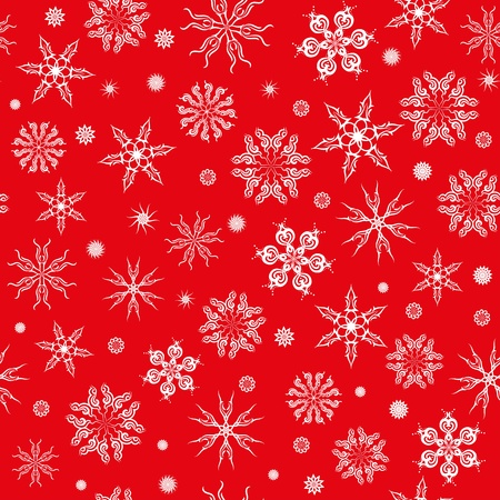 Seamless pattern. White snowflakes on a red background. Vector