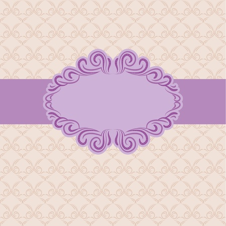Template frame design for greeting card . Background - seamless pattern. Vector