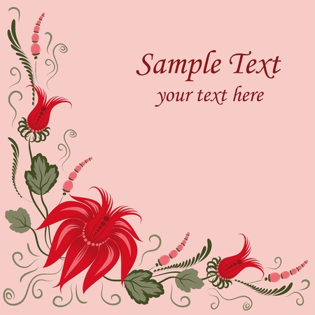 Flowers on a pink background - in the style of hand-painted. Vector